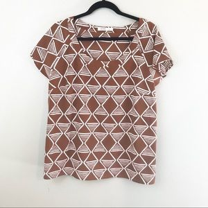 ** Old Navy ** brown and white geometric blouse